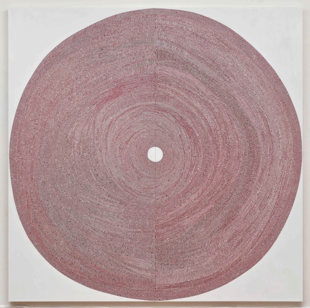 """Circle No.190,"" 2009, acrylic on tape over panel, 96 x 96 inches"