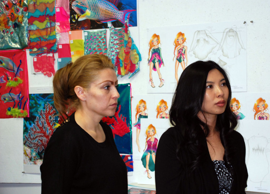Designer Emily Fong and assistant