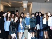 Group photo of Liliana Casabal and senior fashion design class
