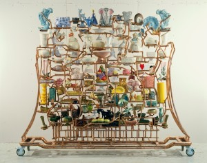 The Wall of China Made in America (The Peaceable Kingdom), 1994 Copper plumbing pipe and fittings, approximately 200 pieces of American pottery