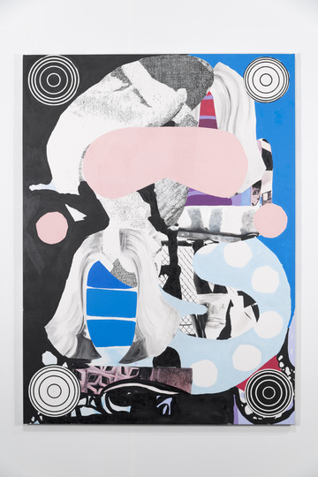 Meg Cranston Angel Gyre, 2013 Oil, acrylic & silkscreen on canvas 72 x 56 ""
