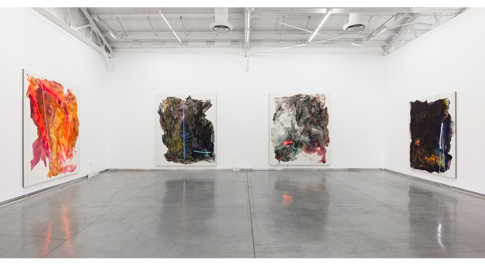 Installation view of Mary Weatherford Los Angeles @ David Kordansky Gallery