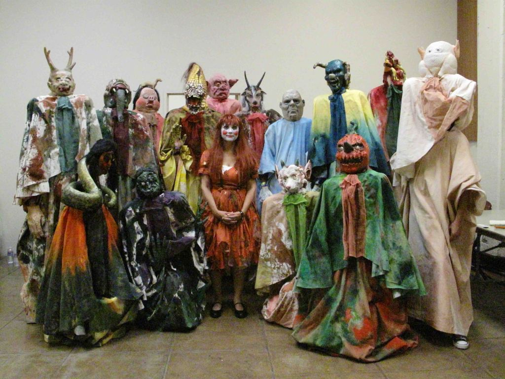 Marnie Weber as Spirit Girl poses with her monsters. Photo by LeeAnn Nickel.
