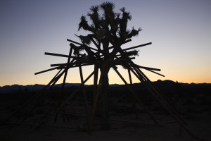 A sculpture by Eric Sarbach is silhouetted against the landscape.