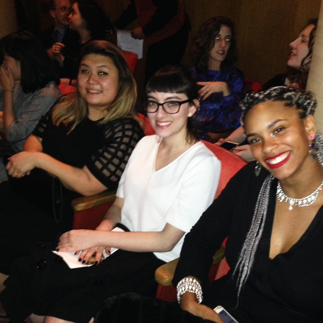 (Left to right) Michelle Sin, Emmanuelle Castellan and Darrah Matthews wait for the show to start.