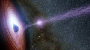Artist's concept image depicts an X-ray flare issuing from a black hole. Photo courtesy of NASA/JPL.