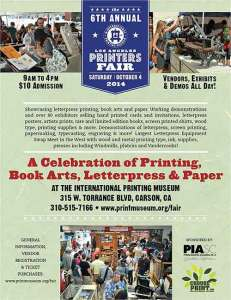 The Los Angeles Printers Fair this Saturday