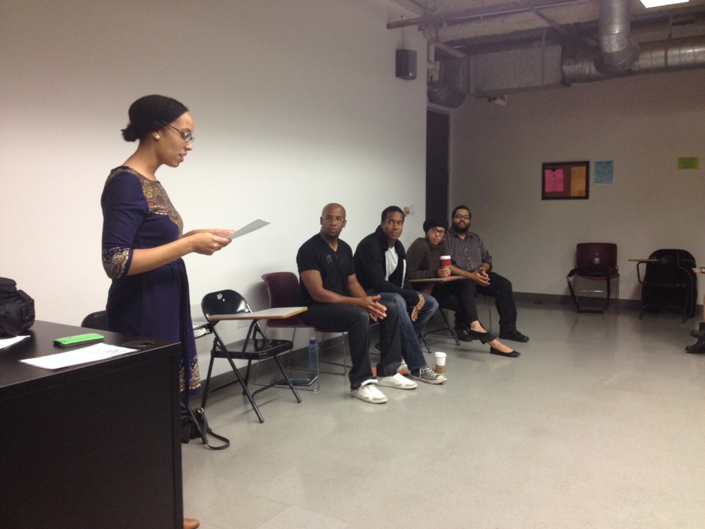 Introducing guest speakers (playwright, director, and actors from the play BUNK).