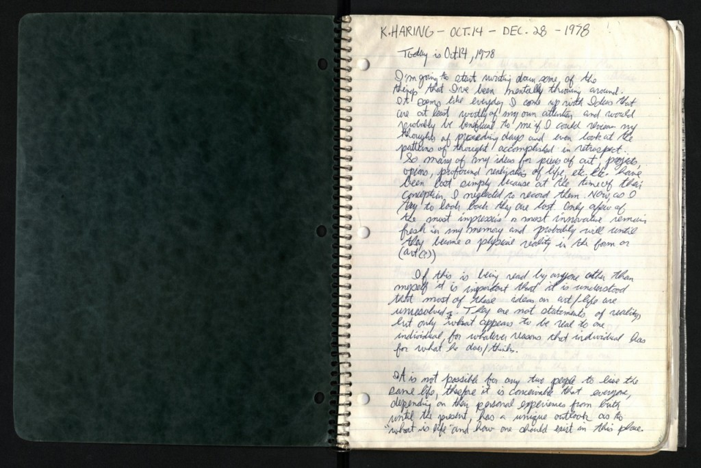 Keith Haring 1978 journal, 1st page