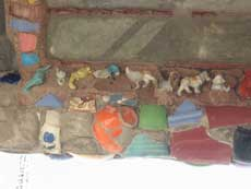 Section of wall with toy animals