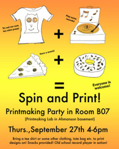Spin and Print party this Thursday 9/27 4-6pm!