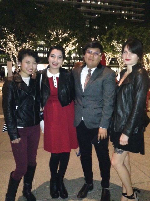 "Amanda Fu, Rebecca Bryant, Alexander Sin and Sienna Blackwell pose ""dressed to the nines"" outside of the Dorothy Chandler Pavilion"