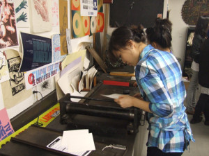 Wednesday's Introduction to Letterpress Class is Printing!