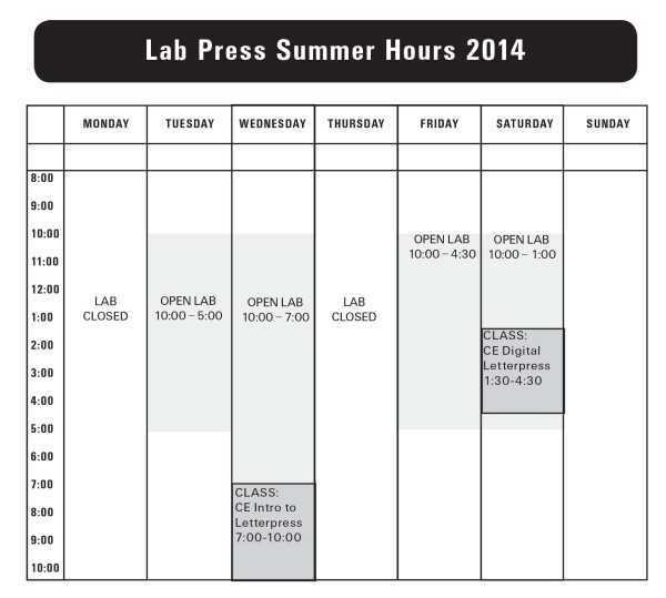 Summer 2014 Lab Hours