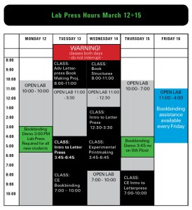Lab Press Hours March 12+15